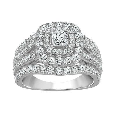 Womens 2 CT. T.W. Genuine White Diamond 14K White Gold Engagement Ring