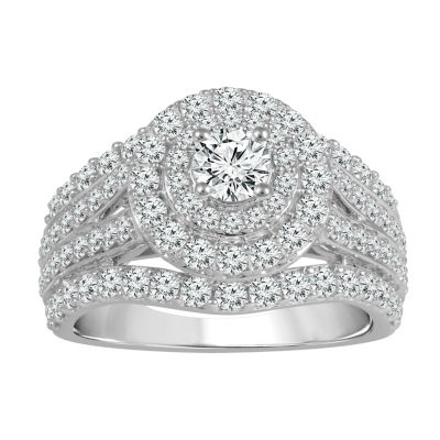 Womens 2 CT. T.W. Genuines White Diamond 14K White Gold Engagement Ring