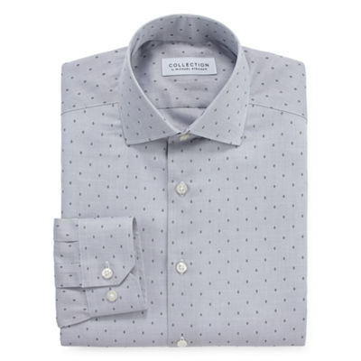 Collection By Michael Strahan Wrinkle Free Cotton Stretch Mens Collar Neck Long Sleeve Dress Shirt