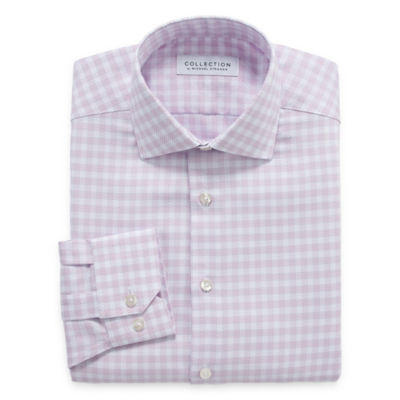 Collection By Michael Strahan Wrinkle Free Cotton Stretch Mens Point Collar Long Sleeve Dress Shirt
