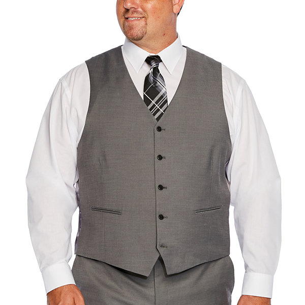 JF J.Ferrar Gray Sharkskin Mens Stretch Slim Fit Suit Vest - Big and Tall