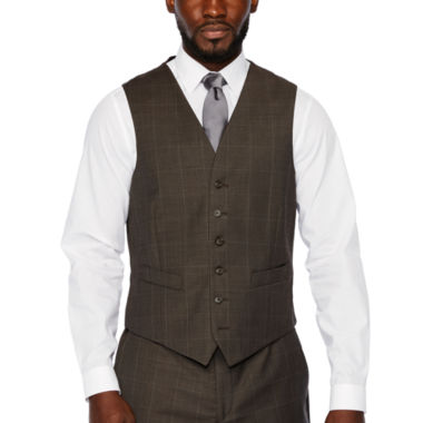 Stafford Brown Windowpane Classic Fit Stretch Suit Vest