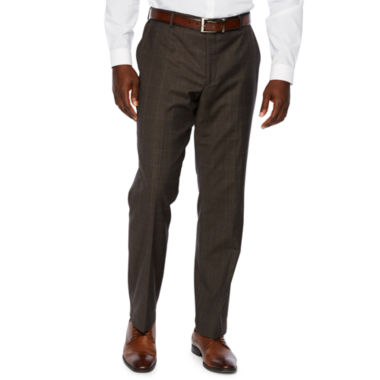 Stafford Brown Windowpane Classic Fit Stretch Suit Pants