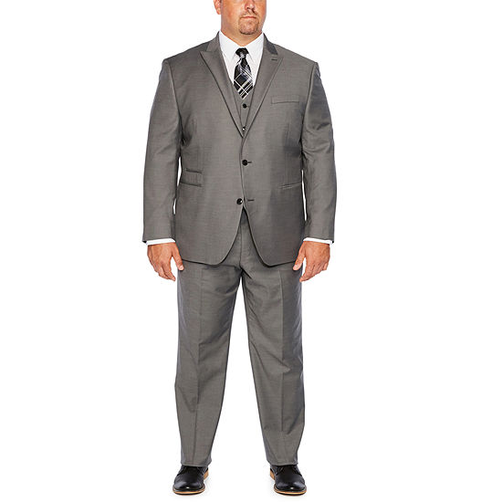 JF J. Ferrar Gray Sharkskin Stretch Suit Separates - Big & Tall