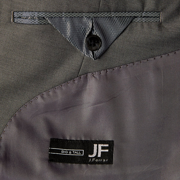 JF J.Ferrar-Big and Tall Gray Sharkskin Stretch Suit Jacket
