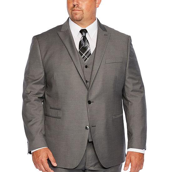 JF J.Ferrar-Big and Tall Gray Sharkskin Stretch Suit Jacket