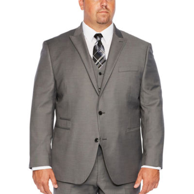 JF J.Ferrar Gray Sharkskin Stretch Suit Jacket-Big and Tall