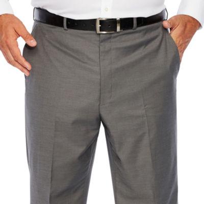 JF J.Ferrar - Big and Tall Gray Sharkskin Stretch Suit Pants