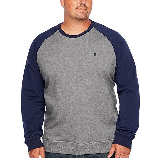IZOD Big and Tall Advantage Raglan Color Block Crew Mens Crew Neck Long Sleeve Sweatshirt