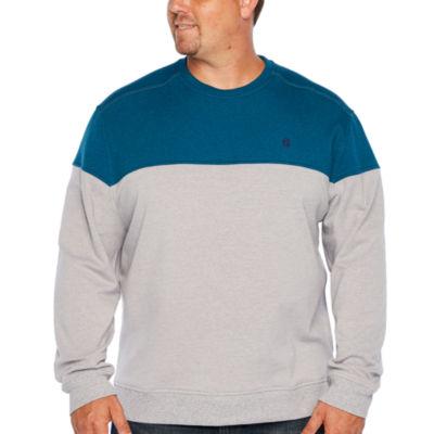 IZOD Advantage Colorblock Chest Crew Neck Long Sleeve Sweatshirt - Big and Tall