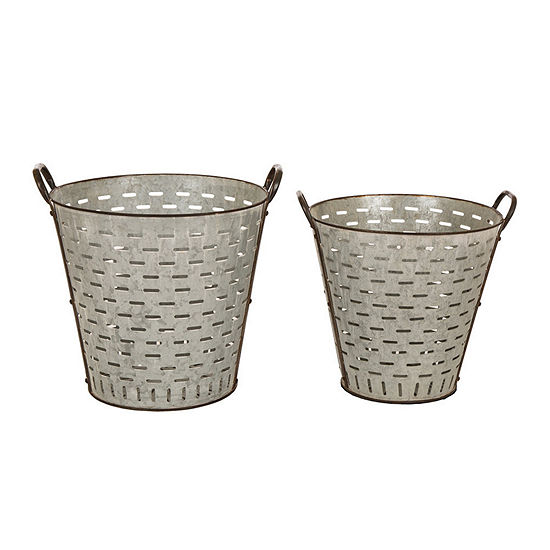 Glitzhome Galvanized Metal Planters  Set Of 2 Planter