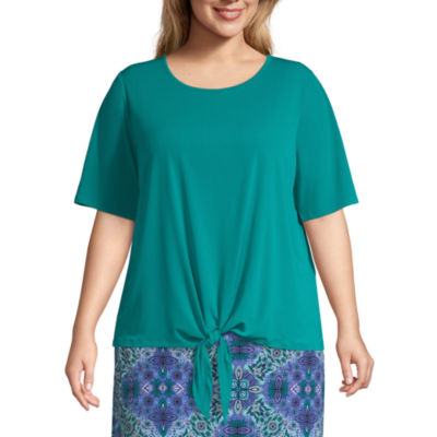 East 5th Elbow Sleeve Scoop Neck Jersey Blouse - Plus