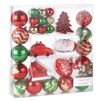 North Pole Trading Co. Winter Farmhouse 50-pc. Christmas Ornament Set