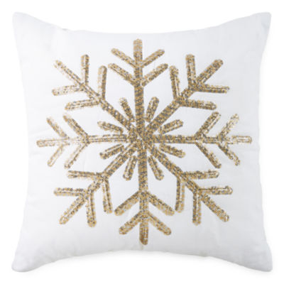 North Pole Trading Co. Snowflake Sequin Square Throw Pillow