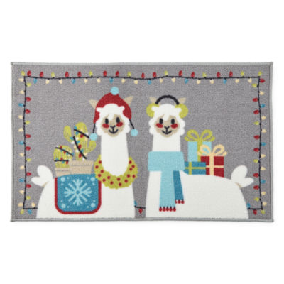 North Pole Trading Co. Christmas Llamas Rectangular Rug