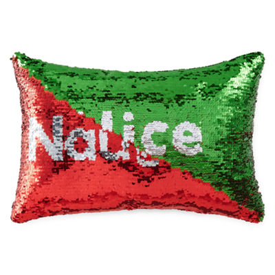 North Pole Trading Co. Naughty To Nice Mermaid Sequin Rectangular Throw Pillow