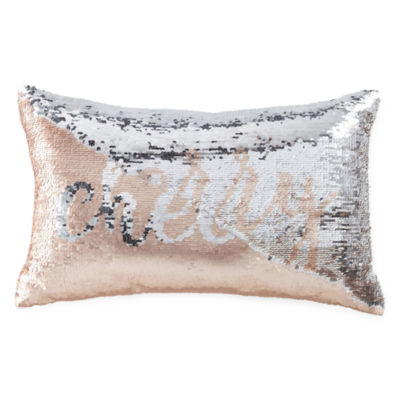 Peyton & Parker Cheers/Merry Mermaid Sequin Rectangular Throw Pillow