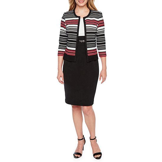 Studio 1-Petite 3/4 Sleeve Midi Jacket Dress