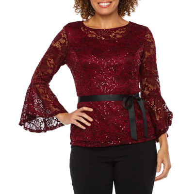 Onyx Nites Long Bell Sleeve Lace Blouse with Belt