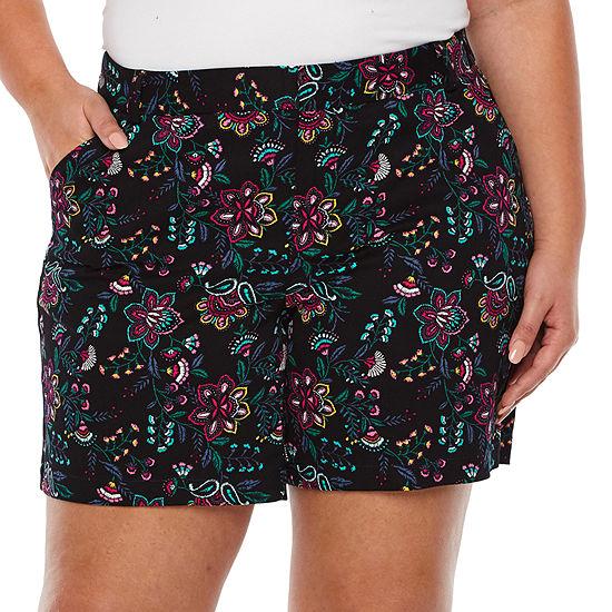 """Boutique + Floral 7"""" Twill Shorts - Plus"""
