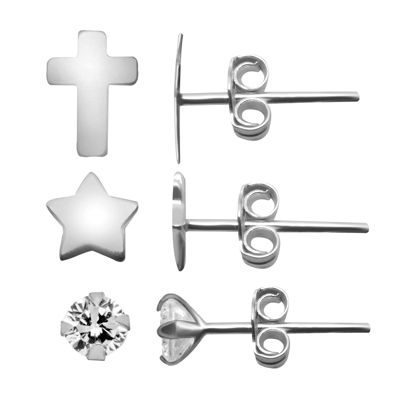 Itsy Bitsy Ear Trios 3 Pair Simulated Sterling Silver Cross Earring Set