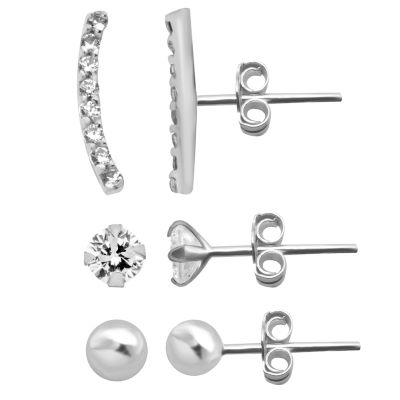 Itsy Bitsy Ear Trios 3 Pair Cubic Zirconia Sterling Silver Earring Set