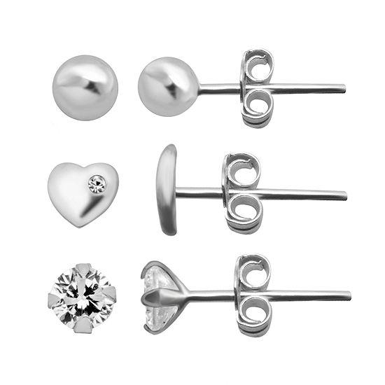 Itsy Bitsy Ear Trios 3 Pair Cubic Zirconia Sterling Silver Heart Earring Set