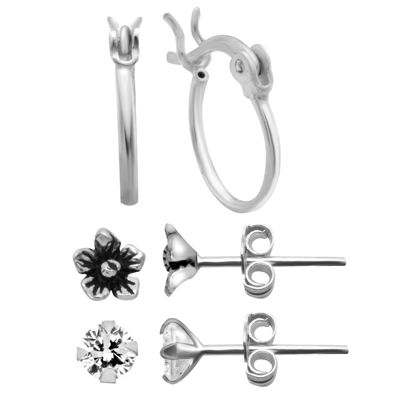Itsy Bitsy Ear Trios 3 Pair Simulated Clear Sterling Silver Earring Set