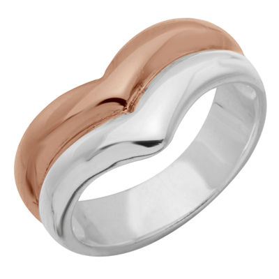 Sparkle Allure Womens 14k Rose Gold Over Brass Cocktail Ring