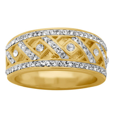 Sparkle Allure Womens Simulated Clear 14K Gold Over Brass Cocktail Ring