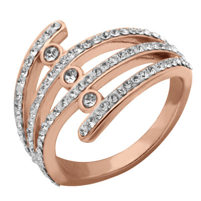Sparkle Allure Womens Simulated Clear 14k Rose Gold Over Brass Cocktail Ring