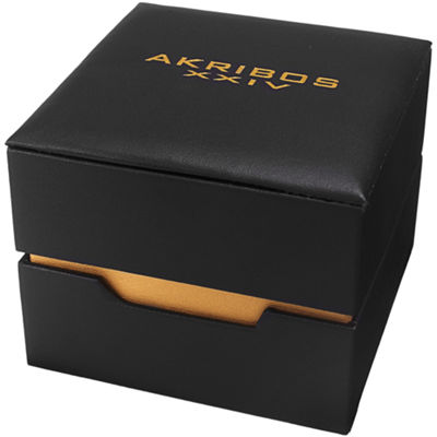 Akribos XXIV Mens Gold Tone Strap Watch-A-813ygb