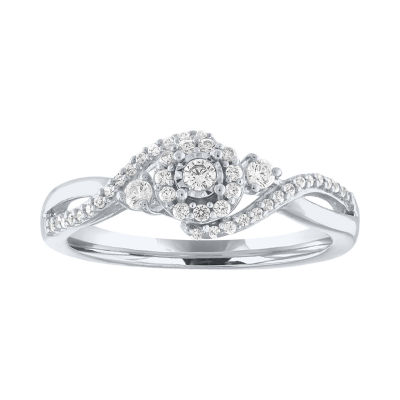 Promise My Love Womens 1/4 CT. T.W. Genuines White Diamond Sterling Silver Promise Ring
