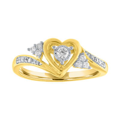 Womens 1/6 CT. T.W. Genuine White Diamond 10K Gold Promise Ring