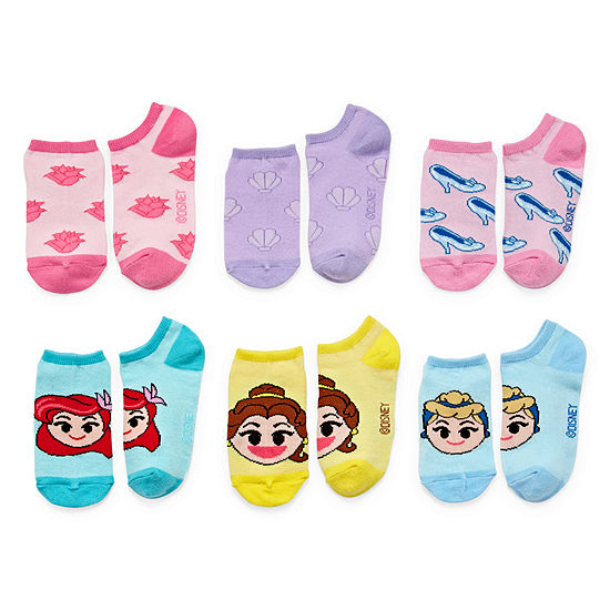Girls 6 Pair Emoji Princes No Show Socks - Girls