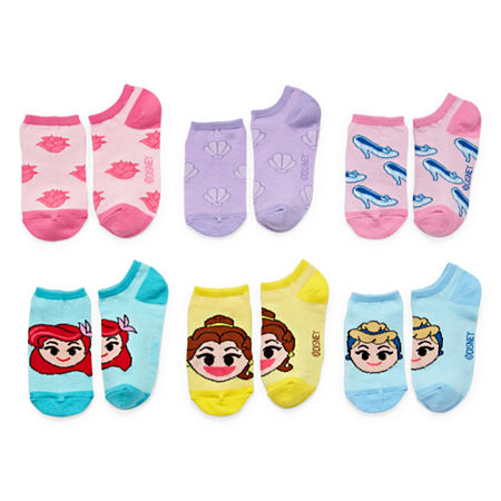 Disney Little & Big Girls 6 Pair Disney Princess No Show Socks, 6-8.5 , Multiple Colors