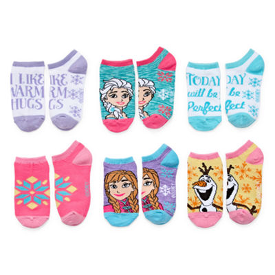Girls License Girls 6 Pair Frozen No Show Socks
