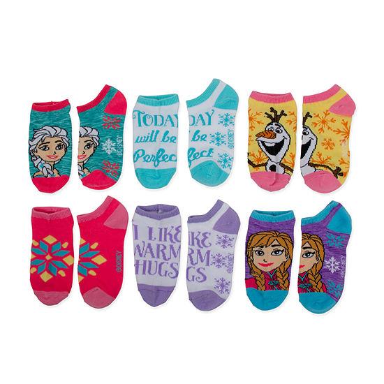Little & Big Girls 6 Pair Frozen No Show Socks