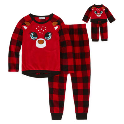 """""""For Me and My Dream Doll"""" 2-pc. Reindeer Pant Pajama Set - Girls"""