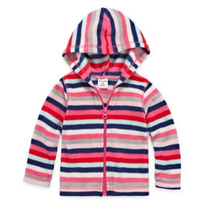 Okie Dokie Multi Stripe Microfleece Zip-Up Hoodie - Baby Girl NB-24M