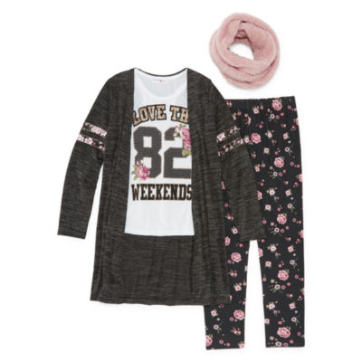 Knit Works Floral Cozy Legging Set with Fuzzy Scarf - Girls' 4-16 & Plus