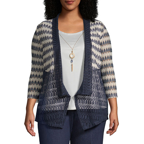 Alfred Dunner News Flash Spliced Texture Layered Blouse - Plus