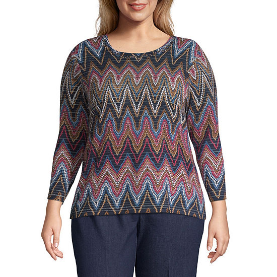 Alfred Dunner News Flash Chevron Sweater Plus