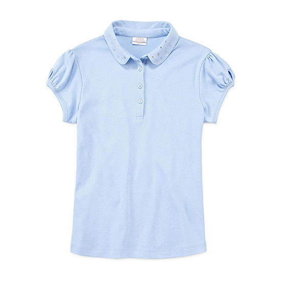 Izod Exclusive Girls Peter Pan Collar Short Sleeve Stretch Polo Shirt