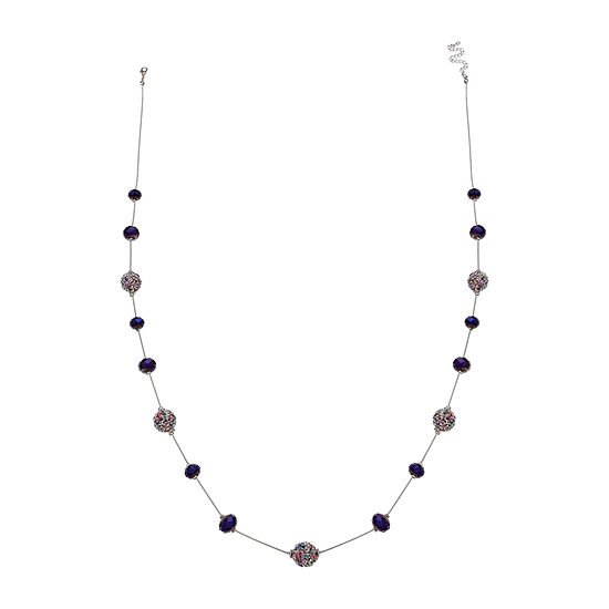 Mixit Purple Glitter Ball 39 Inch Beaded Necklace