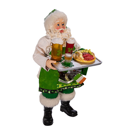 Kurt Adler 10.5-Inch Fabriché™ Musical Irish Chef Santa Figurine