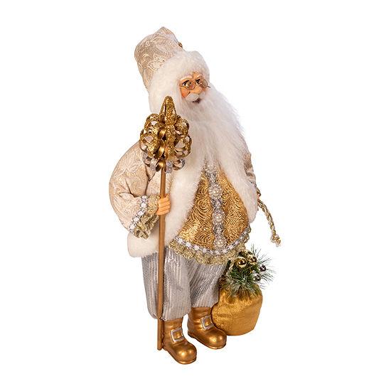 Kurt Adler 18-Inch Kringle Klaus White And Gold Santa Figurine