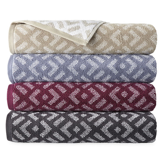 JCPenney Home Westly Ogee Geometric Bath Towel