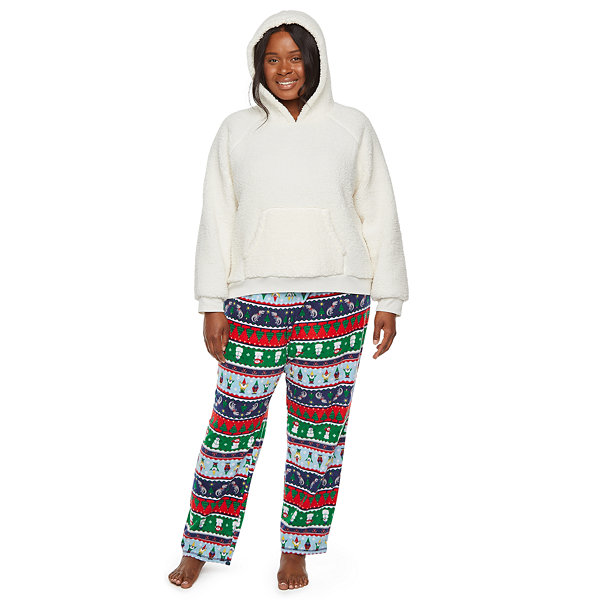 North Pole Trading Co. Fun Fairisle Family Womens-Plus Pant Pajama Set 2-pc. Long Sleeve