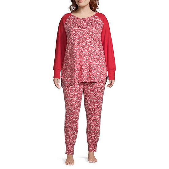 Ambrielle Womens-Plus Pant Pajama Set 2-pc. Long Sleeve